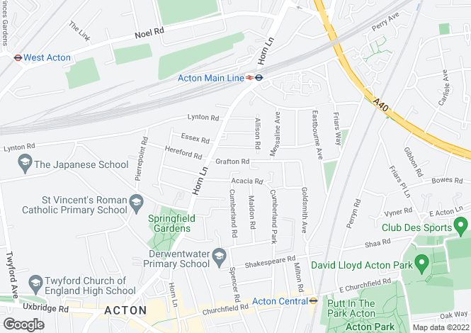 Map for Grafton Road, Acton