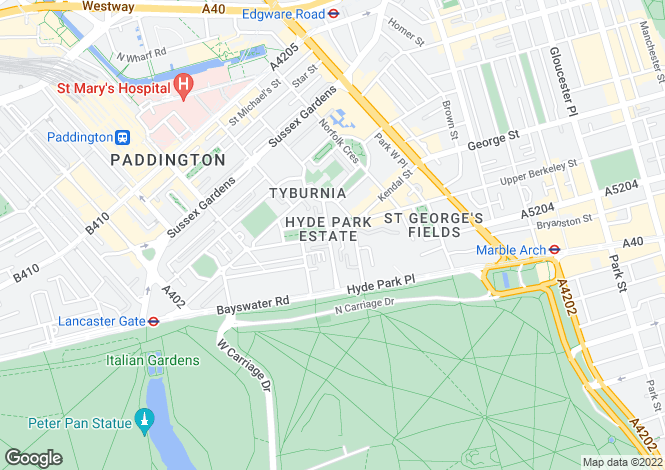 Map for Hyde Park Square W2