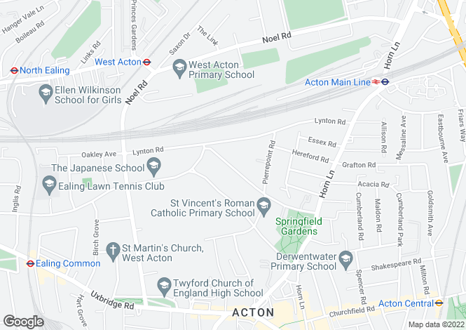 Map for Acton, London