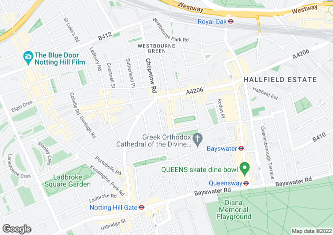 Map for Hereford Road, London, W2