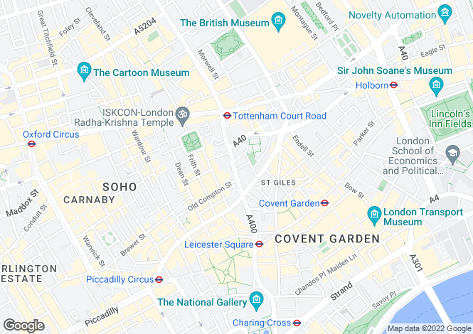 Map for Charing Cross Road, Covent Garden, London WC2