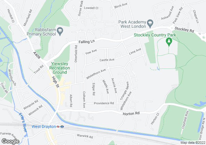 Map for Whitethorn Avenue, West Drayton, UB7