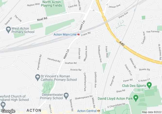 Map for Allison Road, Acton, London