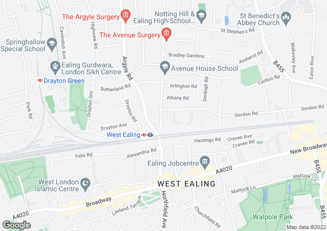 Map for The Avenue, London, W13