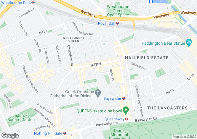 Map for Kensington Gardens Square, London, W2