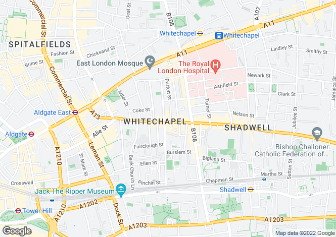 Map for Commercial Road, Whitechapel, Aldgate East, London