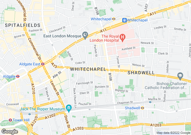 Map for Commercial Road, LONDON, E1
