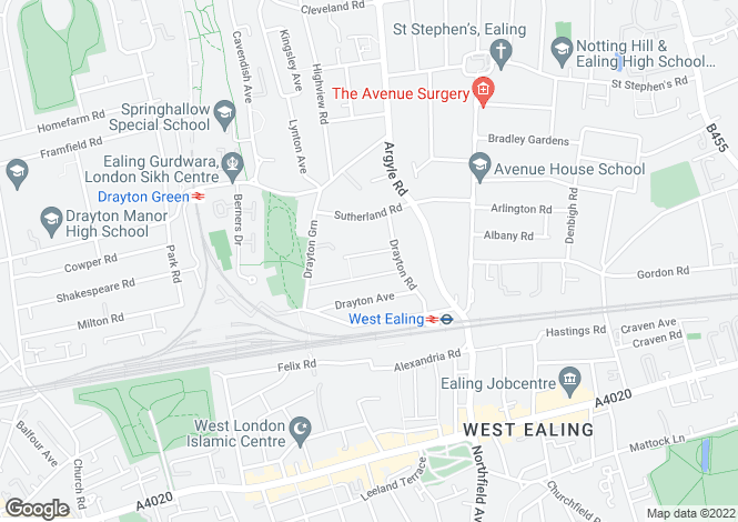 Map for Drayton Grove  Ealing