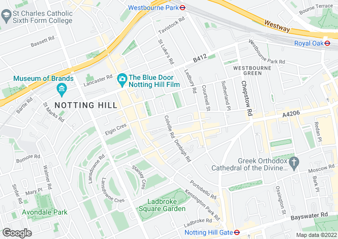 Map for Colville Road, Notting Hill
