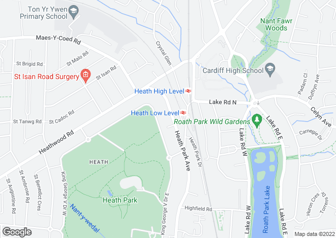 Map for Heath Park Avenue, Heath, Cardiff