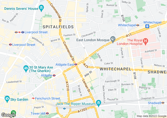 Map for Whitechapel High Street, Whitechapel, LONDON, E1 7QX
