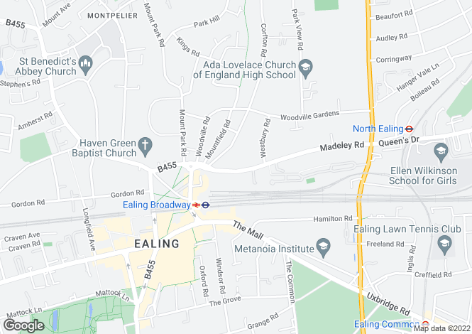 Map for Madeley Road, Ealing