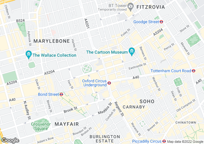 Map for John Princes Street, Marylebone, London, W1G