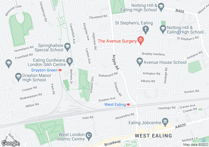 Map for Sutherland Road, Ealing