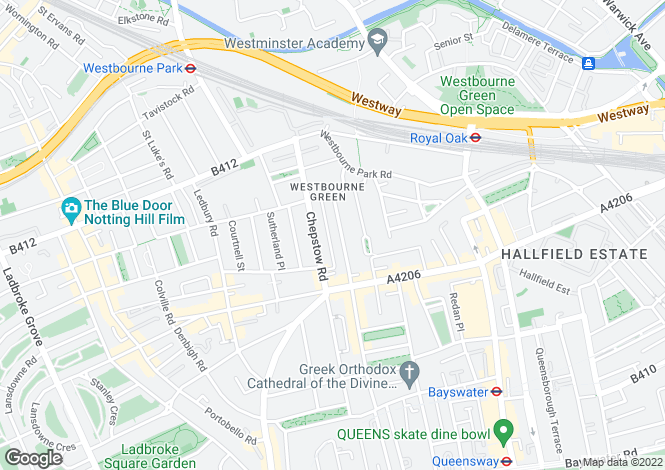 Map for Hereford Road, W2