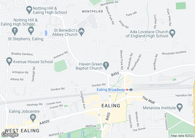 Map for Castlebar Road, Ealing