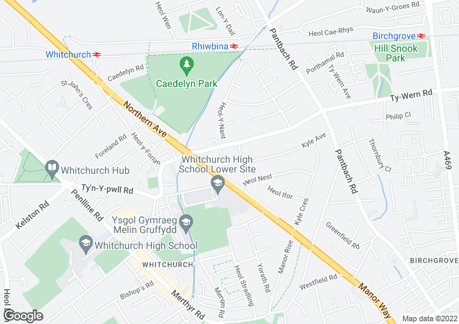 Map for Manor Close, Whitchurch, Cardiff