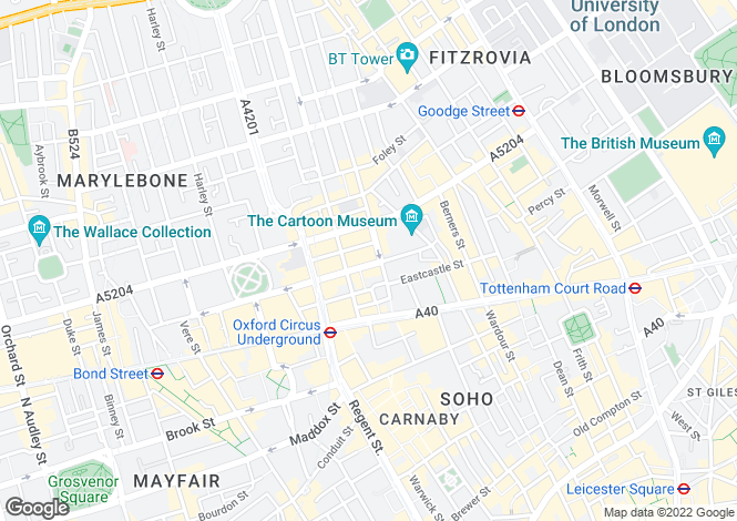 Map for Margaret Street, Fitzrovia, London, W1W
