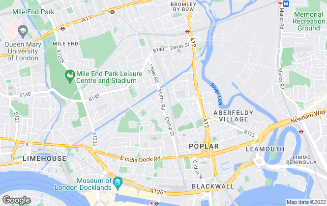 Map for Tafaders, Bow & Canary Wharf