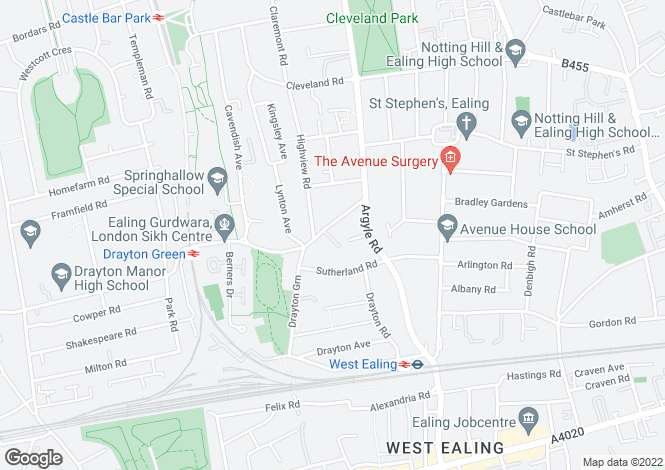 Map for Courtfield Gardens, Ealing