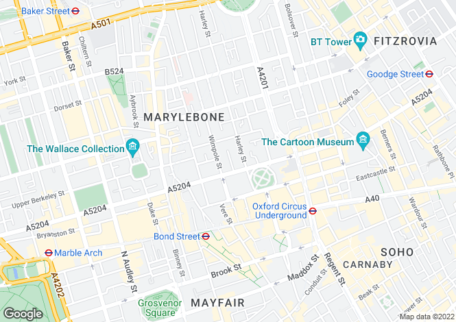 Map for Wigmore Place, Marylebone, London, W1U