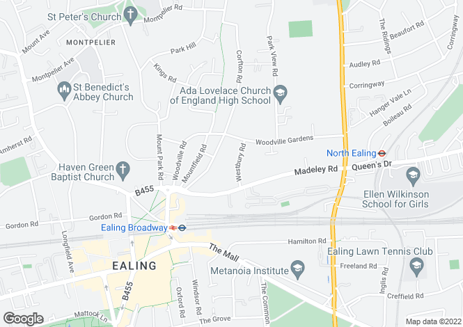 Map for Westbury Road, Ealing