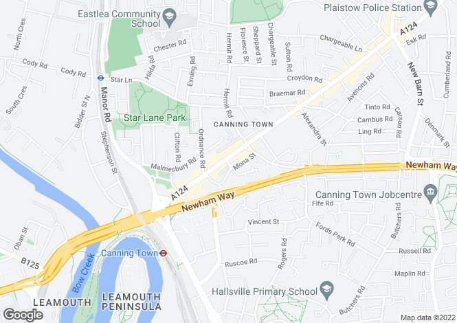 Map for Barking Road, Canning Town, London