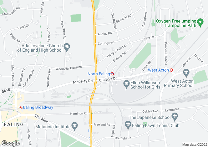 Map for Retirement flat for the over 60s,Near North Ealing Station,Ealing, London