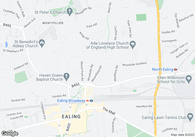 Map for Mountfield Road,Ealing