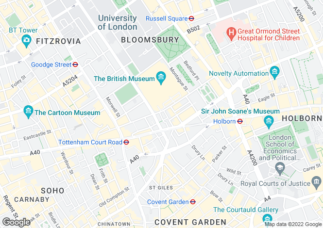 Map for Great Russell Street, Bloomsbury, London, WC1B