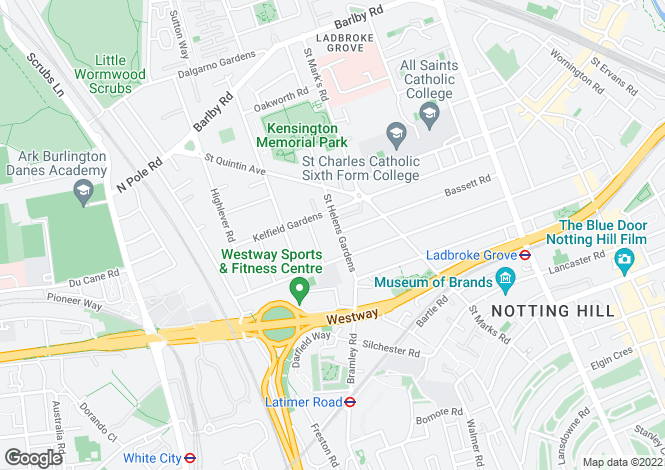 Map for St Helens Gardens, London, W10