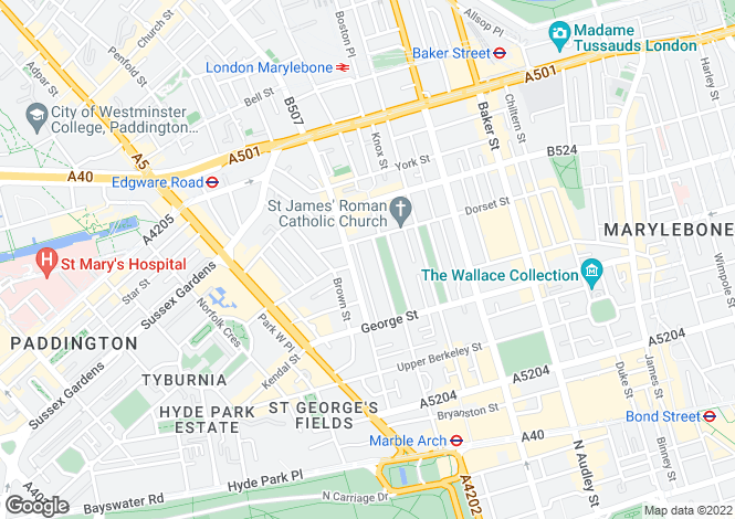 Map for Bryanston Square, London, W1H