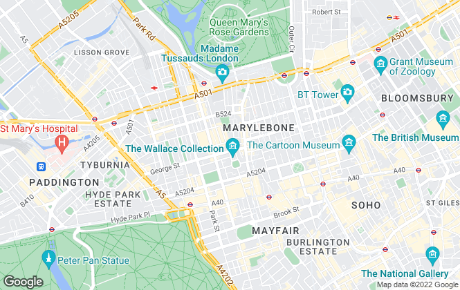 Map for Foxtons, Marylebone