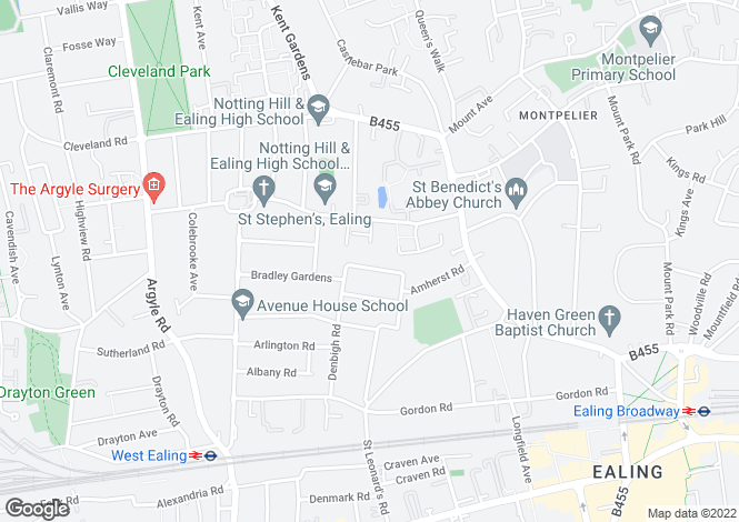 Map for Mortimer Road, Ealing, W13