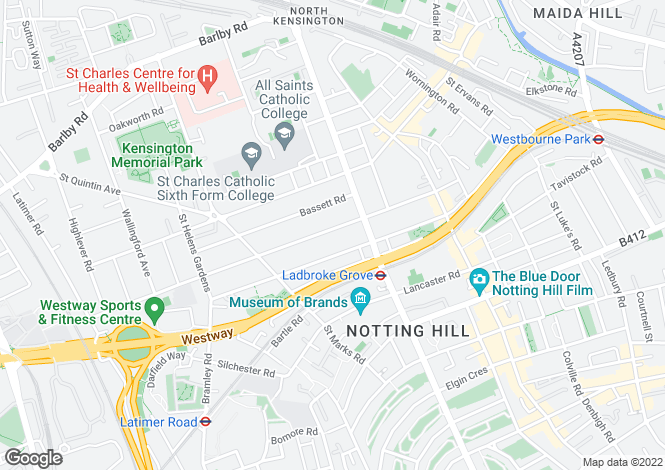 Map for Oxford Gardens, Notting Hill, London W10