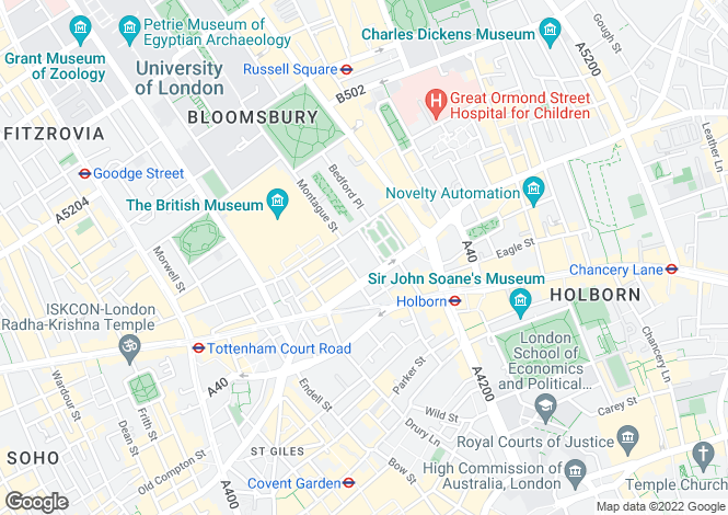 Map for Bloomsbury Square, Bloomsbury, Covent Garden, London