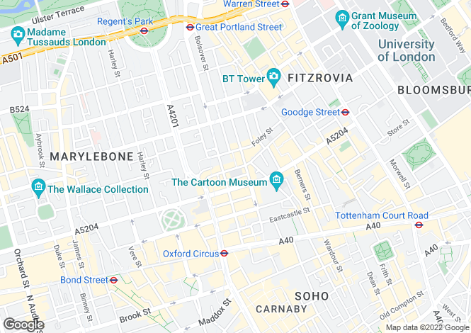 Map for Riding House Street, London, W1W