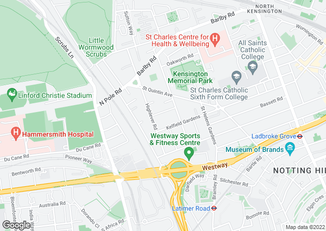 Map for Kingsbridge Road North Kensington W10
