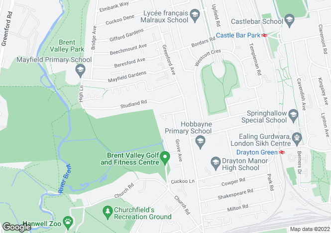 Map for Westview Close, Hanwell, London, W7