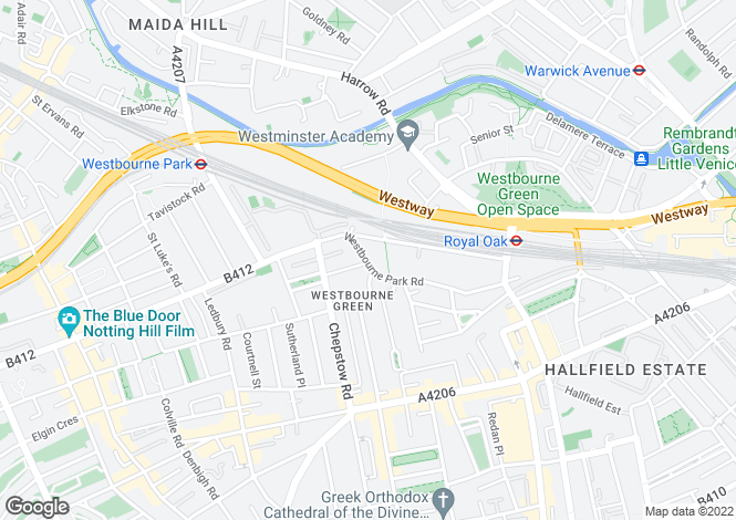 Map for Westbourne Park Road, London, W2