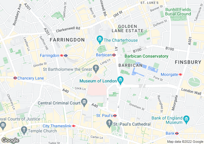 Map for Bartholomew Close, Clerkenwell