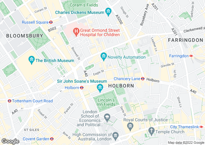 Map for Eagle Street, Holborn, WC1R
