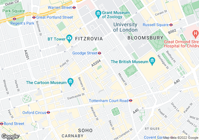 Map for Crabtree Place, Fitzrovia, London, W1T