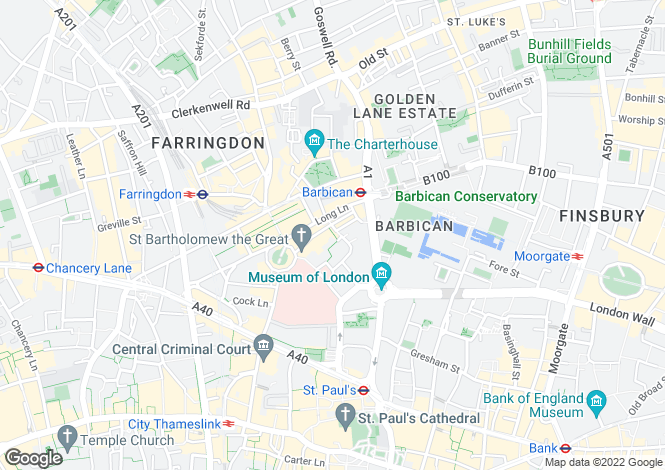 Map for 39-40 Bartholmew Close, London, EC1A
