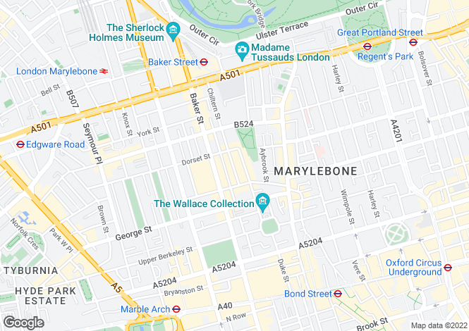 Map for Chiltern Street,
