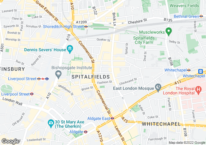 Map for Fournier Street, Spitalfields, E1