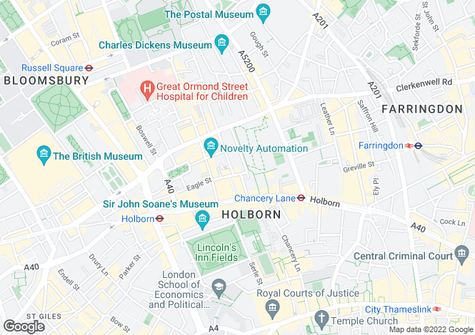 Map for Bedford Row, Bloomsbury, London WC1R 4BU
