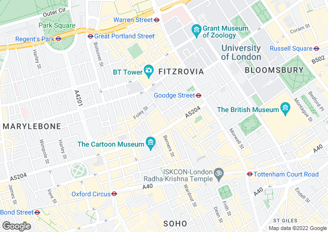 Map for Cleveland Street, Fitzrovia, London, W1T