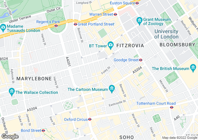 Map for Hanson Street, Fitzrovia, London, W1W