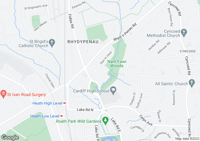 Map for Heol Esgyn, Cyncoed, Cardiff